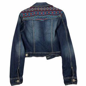 Maurices Boho Embroidered Crop Jean Denim Jacket M